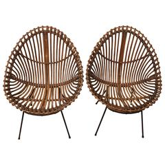 Pair of Bamboo Chairs in the Style of Franco Albini