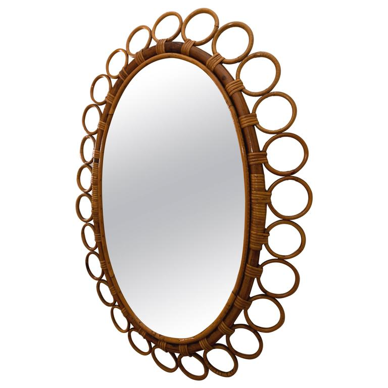 Oval Bamboo Surround Mirror For Sale