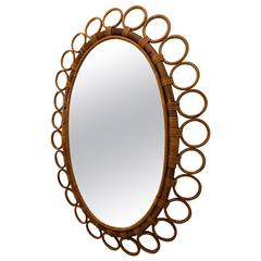 Oval Bamboo Surround Mirror