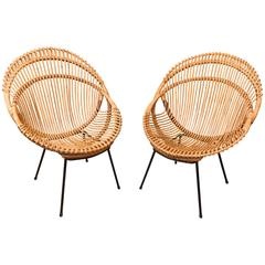 Pair of Metal Base Bamboo Chairs