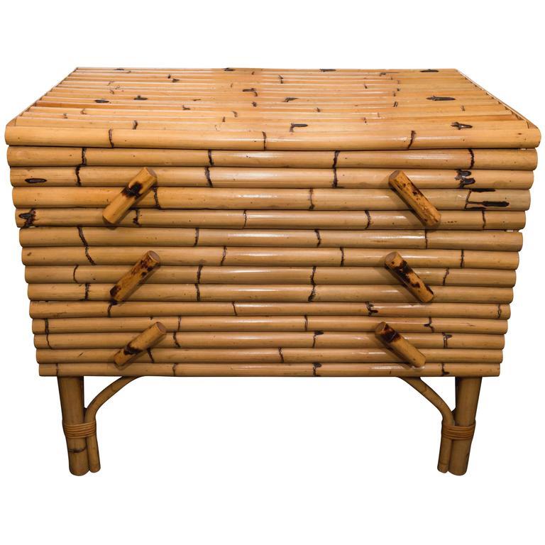 Three Drawer Bamboo Chest