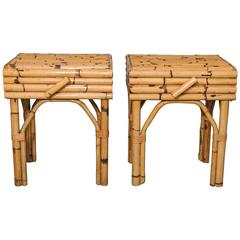 Pair of Bamboo Single Drawer Side Tables