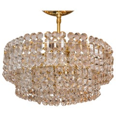 Two-Tiered Ceiling Fixture Composed of Faceted Glass Panels with Brass Detail
