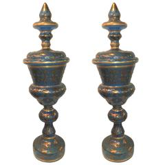 Pair of Antique Moser Attributed Jeweled Bohemian Art Glass Enameled Vase
