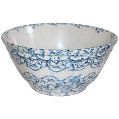 Large 19th Century Sponge Ware Mixing or Fruit Bowl
