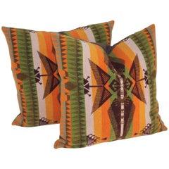 Pair of Vintage Pendleton Indian Design Camp Blanket Pillows
