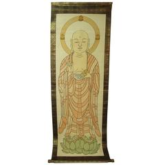 Japan Important Antique Temple Silk Scroll Painting SUTRAS in Fine Black Lines