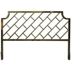 Fantastic Tall Brass Lattice Hollywood Regency King-Size Headboard