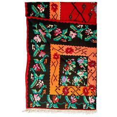 Natural Dye Handwoven Kilim from Macedonia circa 1953