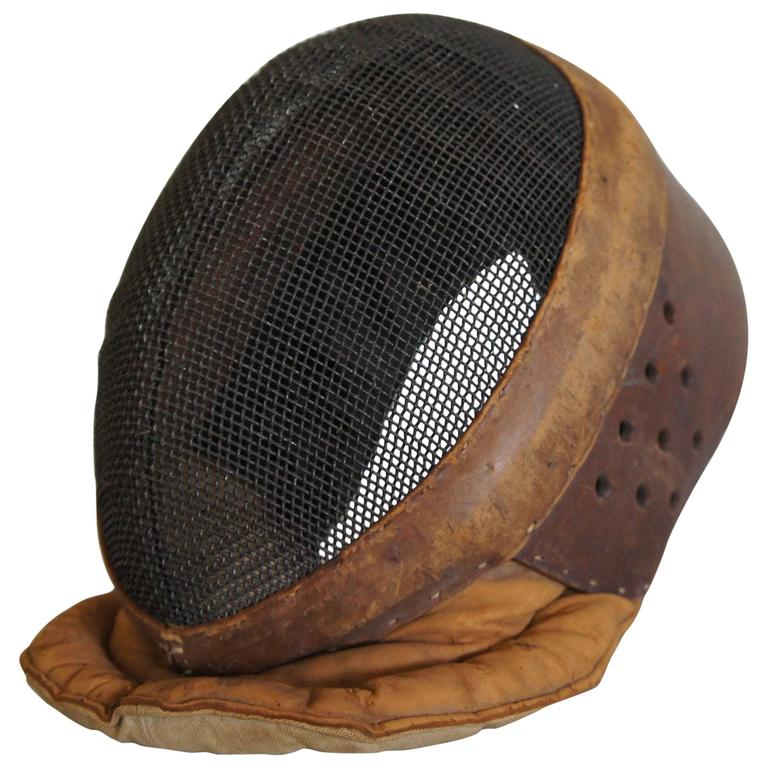 Early 20th Century Leather and Metal Fencing Mask in Good and Original Condition