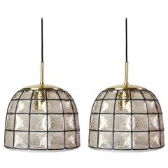One of Two 1960s Black Iron and Glass Honeycomb Bell Pendant Lights by Limburg
