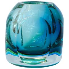 Stunning Mid-Century Italian Faceted Murano Glass Vase by Flavio Poli for Seguso