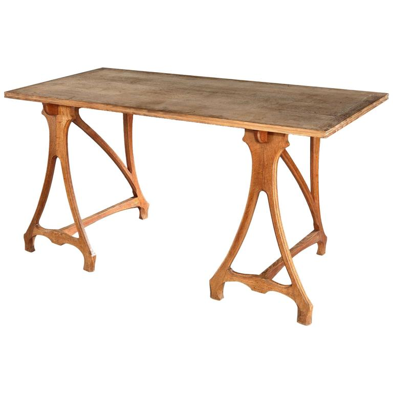 Unusual solid oak trestle table at 1stdibs for Unusual oak dining tables