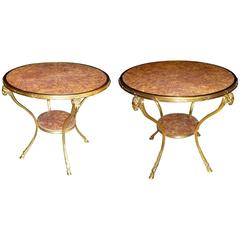 Pair of French Louis XVI Style Gilt Bronze and Marble Tops Gueridons, circa 1880
