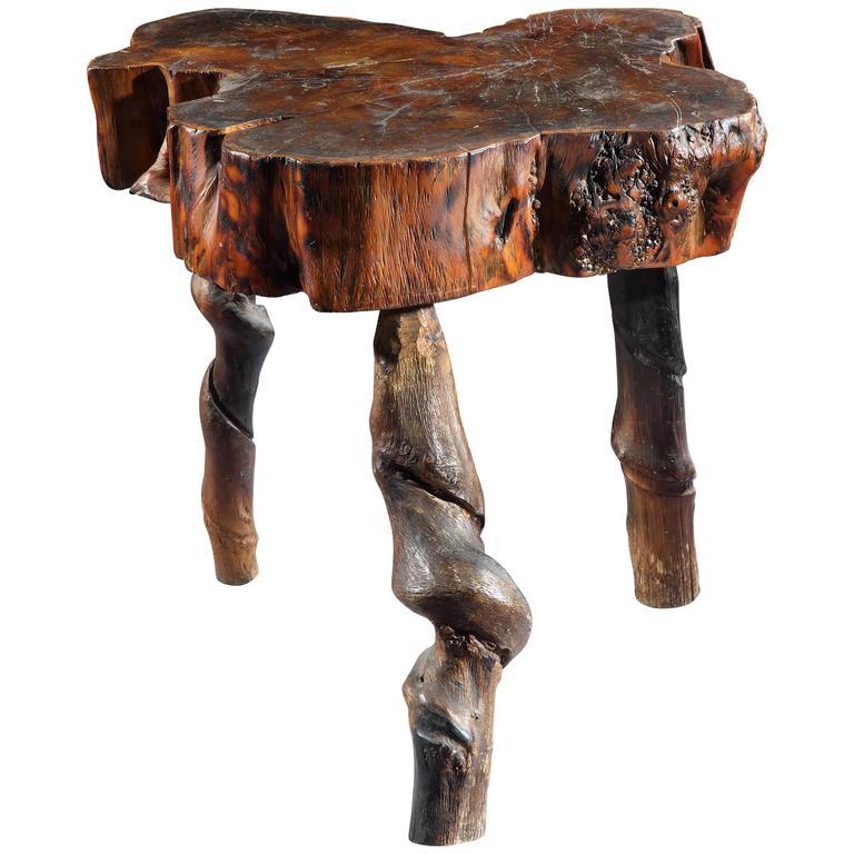 Rustic Yew Wood Tripod Table 1