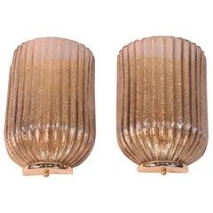 Pair of Art Deco Ribbed Églomisé Glass Sconces
