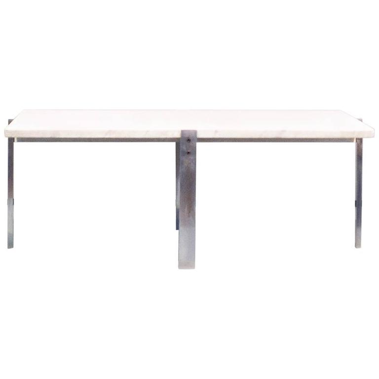 Poul Kjaerholm Pk65 Coffee Table White Flint Rolled Marble, Signed