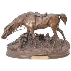 Large and Important Bronze of a Hunting Horse, by Pierre-Jules Mene