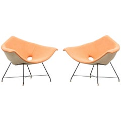 Pair of Augusto Bozzi Lounge Chairs by Saporiti