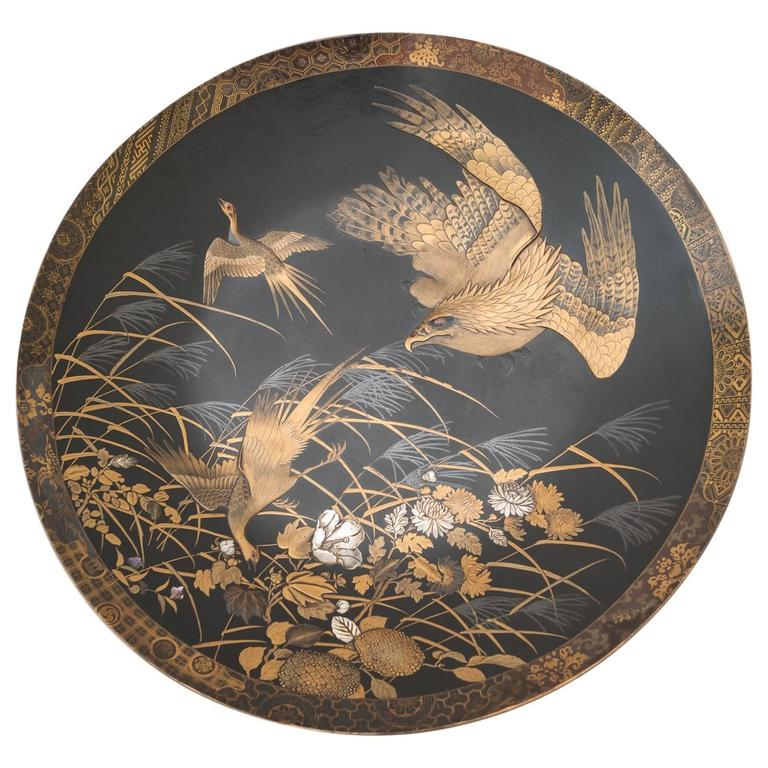 Japanese Gold Lacquer Wall Plate Onlaid Ivory Mother Of