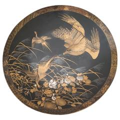 Japanese Gold Lacquer Wall Plate Onlaid Ivory Mother-of-Pearl