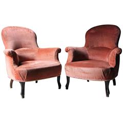 Pair of French Rosewood and Pink Velvet Upholstered Tub Armchairs, circa 1890