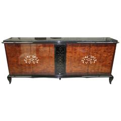 French Art Deco Mother-of-Pearl Jules Leleu Sideboard or Buffet Marble Top