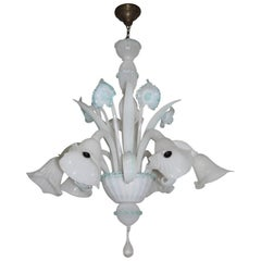 Chandelier Murano Glass, Iridescent White with Decorations in Blue