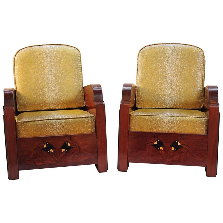 Pair of Large and Deep Art-Deco Period Armchairs by Austrian Work