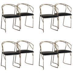 "Set of Eight ""Bamboo"" Bronze Sculptural Chairs"