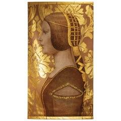 Woman Profile Portrait, Painted on Linen, Renaissance Style