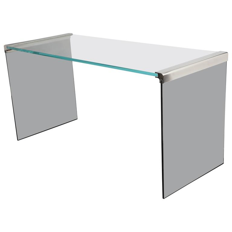 Vintage Waterfall Desk in Chrome with Smoke and Clear Glass For Sale