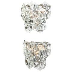Pair of Glamorous 1970's Kinkeldey Oversized Crystal Sconces