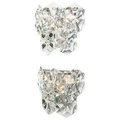 Pair of Glamorous 1970s Kinkeldey Oversized Crystal Sconces