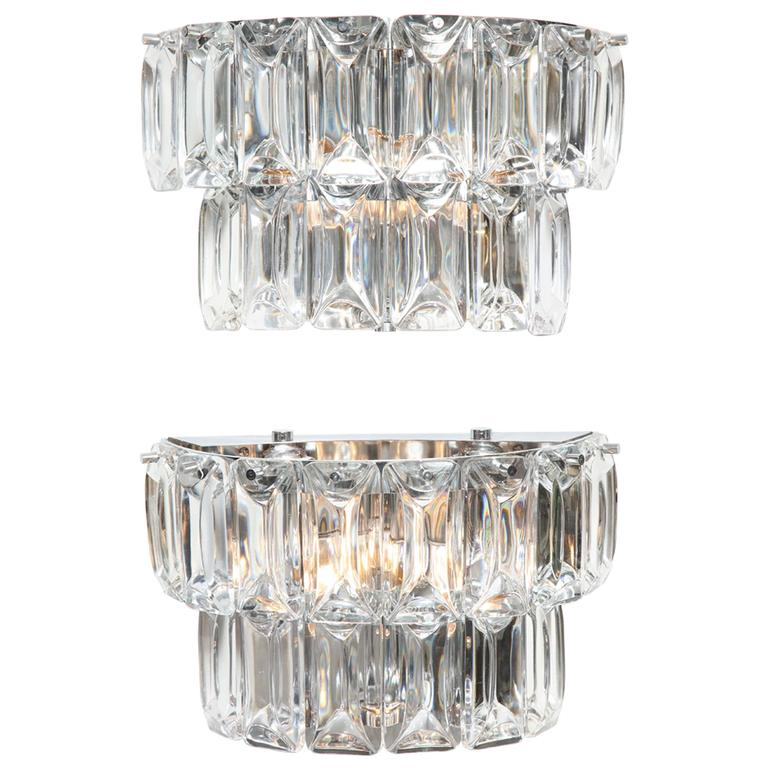 Glamorous 1970s Austrian Crystal Sconces For Sale