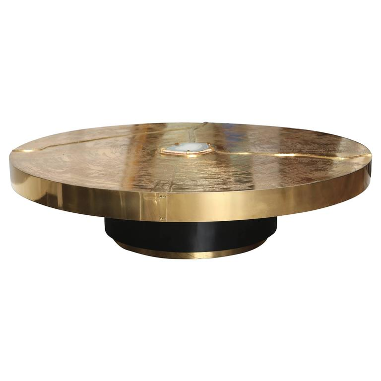 Signed LRart, Belgium Etched Brass Cocktail Table with Agate 1