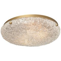 Vintage Hillebrand Flush Mount Brass and Glass Light Fixture