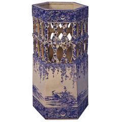 Hexagonal Blue and White Chinese Porcelain Umbrella Stand, circa 1880
