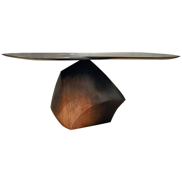 """""""Roche en Équilibre"""" Wood Coffee Table Signed by Hoon Moreau"""