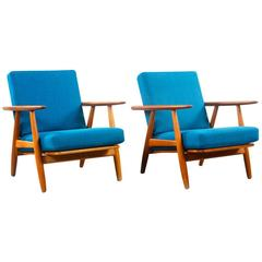 "Pair of ""Cigar"" Armchairs in Teak and Fabric"