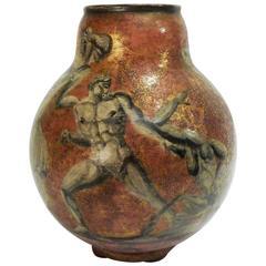 "Jean-Léon Mayodon, ""Centaurs Vase,"" an Art Deco Enamel Stoneware Vase, Signed"