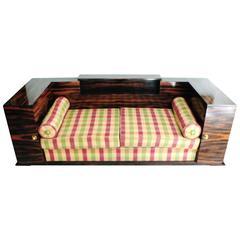 Elegant French Art Deco Macassar Ebony Sofa with Side Tables with a Bar