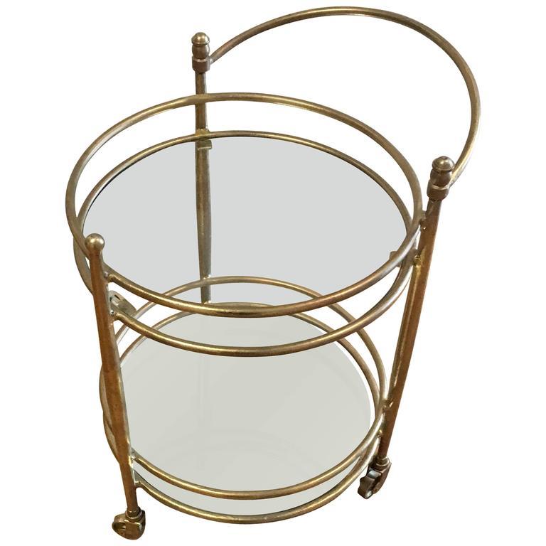 Holloway Brass Bar Cart with Mirror Shelves