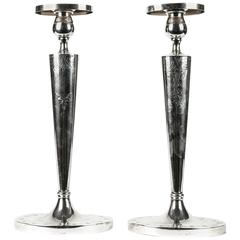 Antique Pair of English Sterling Silver Candle Sticks