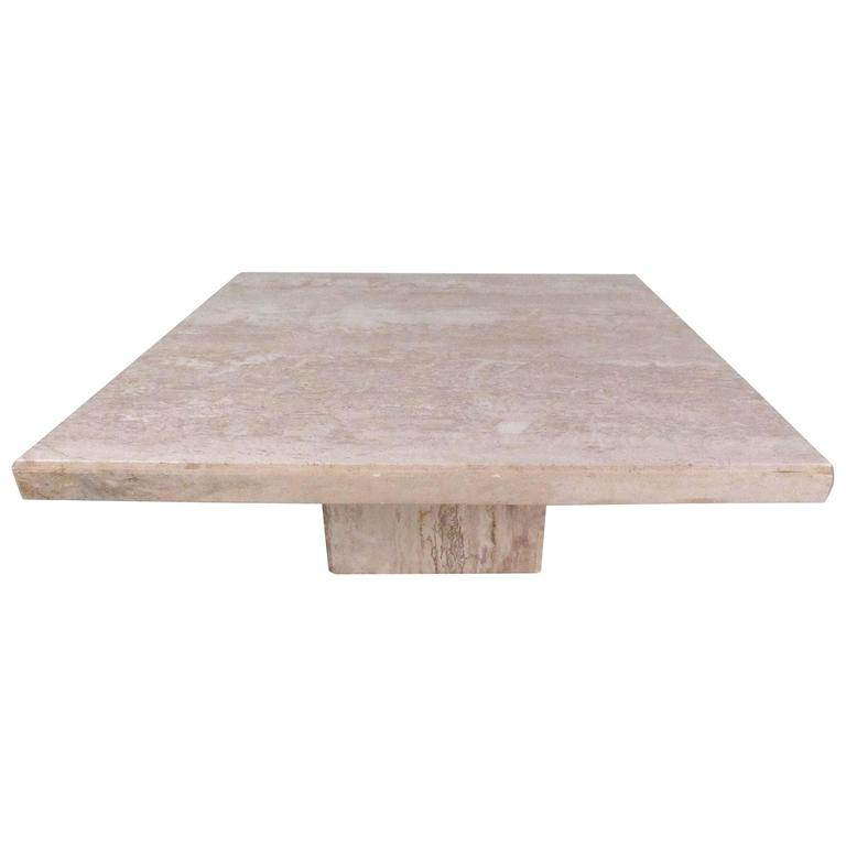 Modern Italian Travertine Pedestal Coffee Table For Sale At 1stdibs