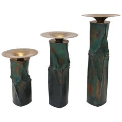 Set of Three Brutalist Candleholders in Oxodized Copper and Brass