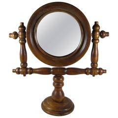 French Gentleman's Vintage Barber Shop Swivel Shaving Mirror on a Stand