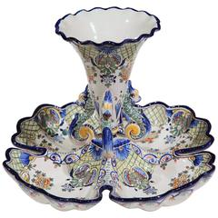 Early 20th Century French Hand Painted Faience Dish with Center Vase from Nevers