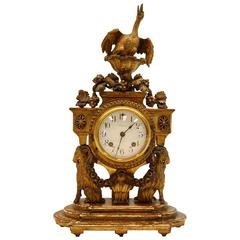 19th Century Carved Wood and Gilded Shelf Clock with Carved Bird Finial