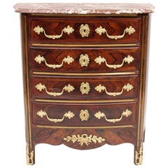High Regence Style Small Commode in Violet Wood and Red Marble Top